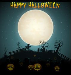 Halloween night background with scarecrow and pump vector
