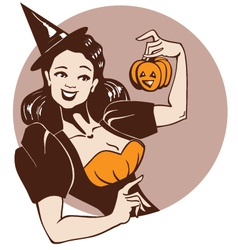halloween pinup girl vector image