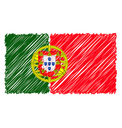 hand drawn national flag of portugal isolated on a vector image