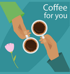 Hands holding cup of coffee vector