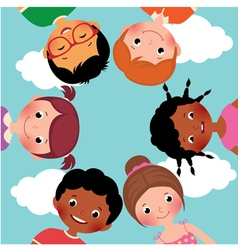 Happy kids in a circle vector image vector image
