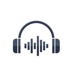 headphone headset icon in flat style headphones vector image