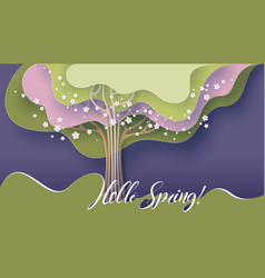 hello spring card tree with blooming flowers vector image