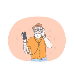 hipster listening to music in headphones concept vector image