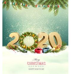 holiday background with a 2020 and christmas vector image