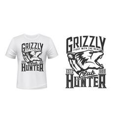 Hunter club t-shirt print grizzly bear animal vector