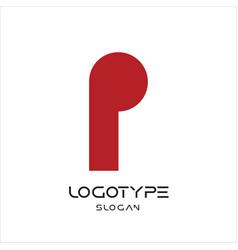 letter p logo keyhole sign geometric monumental vector image