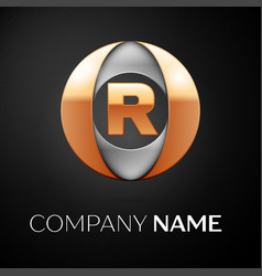 Letter r logo symbol in the colorful circle on vector