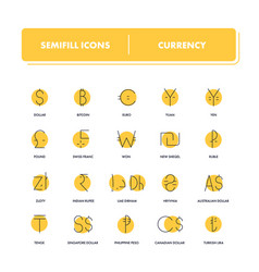 line icons set currency vector image