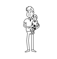line nice father carrying his son in the hands vector image