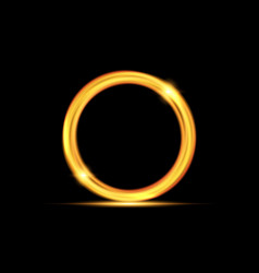 magic gold circle glowing fire ring trace isolate vector image