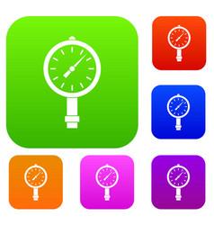 Manometer or pressure gauge set color collection vector