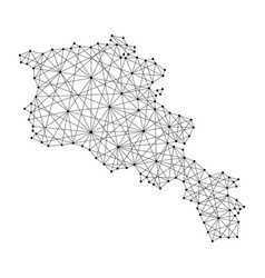 Map of armenia from polygonal black lines and dots vector