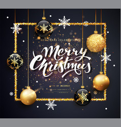 merry christmas gold and black colors greeting vector image