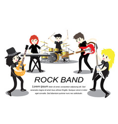 musicians rock group play guitarsinger vector image
