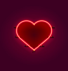 neon heart signboard on red background vector image