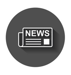 newspaper flat icon news symbol logo on black vector image