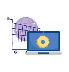 Online payment computer shopping cart world vector