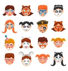 Painted Faces Icons Set vector