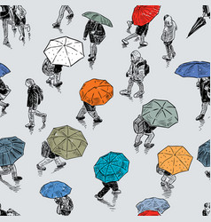 Pattern urban pedestrians in rain vector