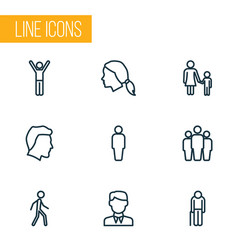 people outline icons set collection of male head vector image