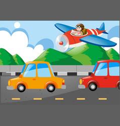 Pilot flying jet over the highway vector