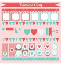 Printable set of saint valentine party elements vector