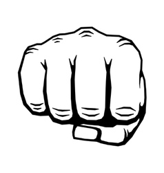 Punching hand with clenched fist vector