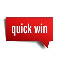 Quick win red 3d speech bubble vector