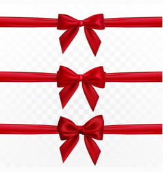 Realistic red bow and ribbon element for vector