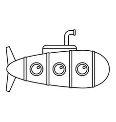Retro submarine icon outline style vector