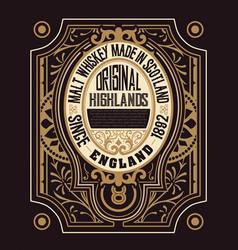 retro whiskey label vector image