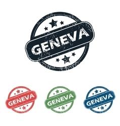 Round Geneva city stamp set vector