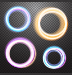 round neon light effect design element vector image