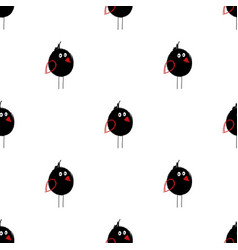 seamless pattern with black birds vector image