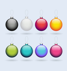 set colored shiny christmas balls isolated vector image