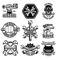 Set of car repair workshop emblems design element vector