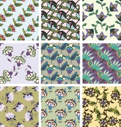 Set of floral hand drawn seamless patterns vector image