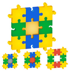 set of puzzles different colors the middle vector image