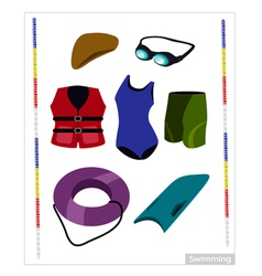 Set of Swimming Equipment on White Background vector