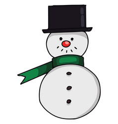 snowman with black hat or color vector image