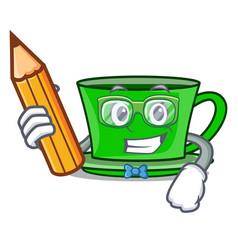 Student green tea character cartoon vector