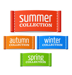 Summer autumn winter and spring collection labels vector