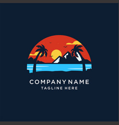 Sunset island logo design vector
