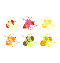 sweet fruits and berries with splashes set apple vector image