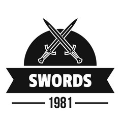 sword logo simple black style vector image