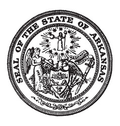 the seal of the state of arkansas the seal shows vector image