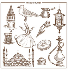 turkey travel symbols and sketch landmarks vector image