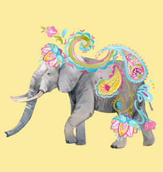 Watercolor elephant vector