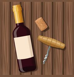 wine bottle design over wooden background vector image